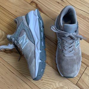 NEW BALANCE X-90 Tan Gray Suede Mesh Sneakers 5.5